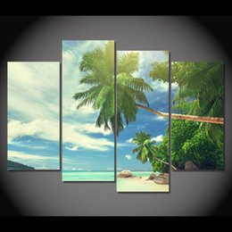 Chinese  4 Pcs Canvas Art Canvas Painting Tropical Beach Palm HD Printed Wall Art Home Decor Poster Wall Pictures for Living Room XA261D manufacturers