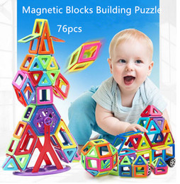 Magnet Puzzle Canada - 76 pcs Magnetic Blocks Toys 3D Magnet Bricks Magnetic Blocks Building Puzzle Education Toys Best Gift For Children Free shipping