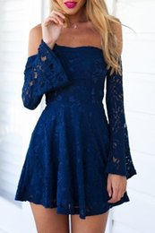 Barato Laço Da Linha Da Marinha Sem Alças-2017 New Navy Blue Lace Prom Dresses Vestidos Homecoming de manga comprida simples Vestidos Strapless Neck [[Arty Gowns Custom Made]