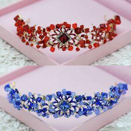 $enCountryForm.capitalKeyWord NZ - Brand New Wedding Accessories Bridal Rhinestone Crystal Crown Headbands Tiara Headpiece Hairband Pageant Prom Head Jewelry Blue Red Retail