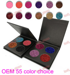 China OEM ODM 4 color sparkle eyeshadow palette black case GOLD case free combination 55 colors High light eye shadow Glitter golden onion powder suppliers