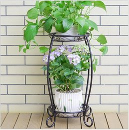 Iron Art Flower Holder Double Flowerpot Stand Living Room Indoor Balcony  Modern Simple Multi Meat Green Flower Shelf