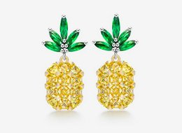 model lights UK - Europe and the United States new S925 silver needles pineapple earrings female models fashionable light extravagant temperament cute jewelry