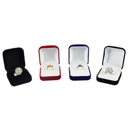 $enCountryForm.capitalKeyWord Australia - Wholesale 6Pcs Jewelry Display Box Red Black Blue Blocked Ring Jewelry Organizer Box Ring Package Storage Gift Box 5*5.8*3.5CM