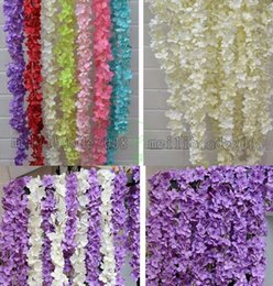 Wholesale Wall Baskets Flowers Canada - Upscale Artificial Silk Wisteria Flowers For DIY Wedding Arch Square Rattan Simulation Flowers Home Wall Hanging Basket Decorations MYY