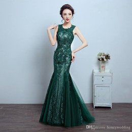 lace emerald long dresses 2020 - Mermaid Evening Dresses Emerald Green Formal Dress Mother Of The Bride Lace Tulle Party Dress Cheap 2019 New cheap lace