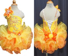 Mini Baby Girl Toddler Canada - Wholesale New 2017 Yellow Sequined Girls Pageant Cupcake Dresses Infant Tutu Gowns Toddler Baby Girls Corset Back Mini Pageant Dress