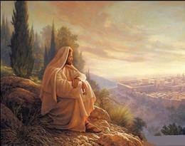 Religious Art Canada - Greg Olsen O Jerusalem,High Quality Handpainted Religious Art Portrait Oil Painting On Canvas Various Sizes  Frame Options Js010
