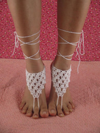 $enCountryForm.capitalKeyWord Australia - Hot Sale Beach wedding Foot ornaments White Flower Handmade pure Cotton Flower Crochet Barefoot Sandals women foot Jewelry Ankle P1200569