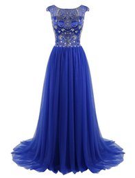 $enCountryForm.capitalKeyWord UK - Royal Blue Prom Dress 2017 Vestido Formatura Longo Scoop Neck Crystals Long Tulle Evening Dresses for Women