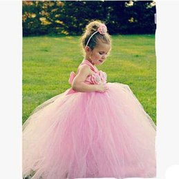 Jupe Rose Tutu Rose Pas Cher-Hot Sale Flower Girls Robes de mariée Pink Lace Princess Jupe Pearl Hollow Out Suspender Robe Dresses Christmas Birthday Party Wear