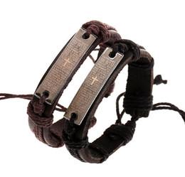 $enCountryForm.capitalKeyWord UK - Man woman Antique Silver Cowhide bracelet 100% cowhide bracelet Scripture cross leather Couple Bracelet 24pcs lot