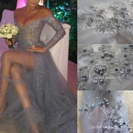 delicate lace Canada - Real Image Gray Lace Tulle High Quality Prom Dress Sexy Empire V Neck Long Sleeves Special Occassion Evening Party Gown Delicate Beaded Gown