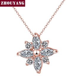 Rose Pendant Jewellery Australia - Wholesale- Top Quality Crystal Snowflake Necklace Rose Plated Fashion Jewellery Nickel Free Pendant Crystal ZYN400 ZYN401