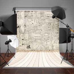 paint muslin backdrop Canada - 5x7ft(150x220cm) White Graffiti Wall Photographic Background Black Letters Wood Floor Backdrop for Children