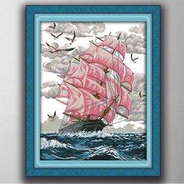 $enCountryForm.capitalKeyWord NZ - sail away ocean scenery sea boat painting 11CT Counted Printed on canvas DMC 14CT diy Cross Stitch Needlework Kit Embroidery Set