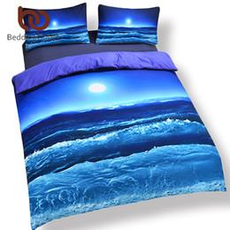 blue moon beds 2019 - Wholesale-Hot Seller Moon And Ocean Bed Spread Cool 3D Print Bedlinen Soft Blue Bedding Set 3pcs Or 4pcs Twin Queen King