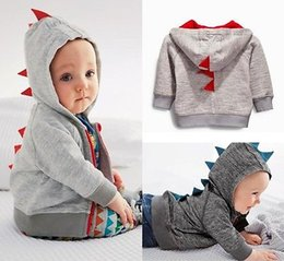 Sweat-shirt À Capuche Dinosaure Pas Cher-Vente en gros - Cute Dinosaur Hooded Baby Boys Vêtements à manches longues Sweats à capuche Sweatshirt Outwear Coat 0 ~ 3Y