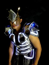 led stage costumes Canada - Fashion Show Led Luminous Ballroom Costume With Mask LED DJ Nightclub Party Dance Wear Clothes Dancing Stage Show Suit Bar Props