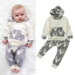 infant winter suits NZ - Boys Girls Clothing Sets Deers Print Winter Autumn Spring Casual Suits Shirts Pants Hat Infant Outfits Kids Tops & Shorts 0-24M