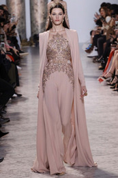 Discount elie saab nude chiffon - 2017 Elie Saab Dresses Evening Wear With Long Sleeves Sheer Jewel Neck Beaded Evening Gowns Chiffon Rhinestones Formal D
