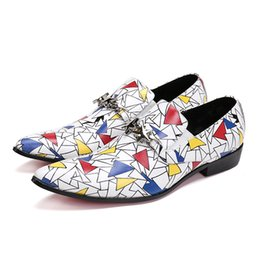 $enCountryForm.capitalKeyWord UK - New Zapatos Hombre Colorful Triangle Print Loafers Fashion Star Chain Buckle Slip on Dress Shoes Wedding Flats Formal Shoes Men