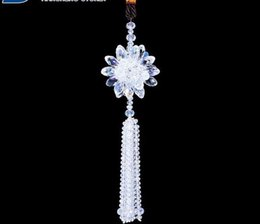 Chains For Mirrors Australia - 1pcs white crystal flower Car auto power racing decoration vip Charms STRAP Chain for Rearview Mirror 30cm