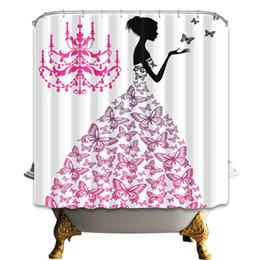 $enCountryForm.capitalKeyWord UK - Butterfly Girl Shower Curtain Fashion Bathroom Accessories Waterproof Polyester Fabric Home Bath Decor Curtains With Hooks 69 x 70 Inch