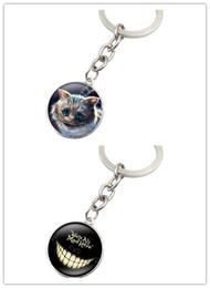 Wholesale alice wonderland movie online – design 10pcs Style Movie Alice In Wonderland Keychain Glass Round Dome Pendant Key Chain Cheshire Cat Key Ring New Ppoular Women Men Gifts