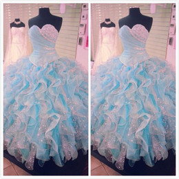 Chinese  2016 Real Image Quinceanera Dresses for Sweet 16 years Blue and White Ball Gown Quinceanera Lace Up Back Plus Size Beades Ruffles manufacturers
