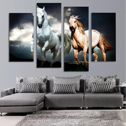 hd painting horse run Australia - Running Horse Animal Oil Painting 4 Pieces HD Print Painting Modern Wall Art Pictures Home Living Room Decoration
