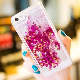 Discount liquid glitter star case - Glitter Star Quicksand Liquid Case Shining Stars Running Cases Clear Hard Case Cover for iphone 6 6s 7 plus 5S Samsung s