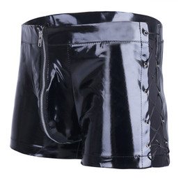Culottes En Cuir Sexy Pas Cher-L XXL Plus Size en cuir verni Latex Wetlook Sexy Gays Boxer Shorts Hommes Tight Slips Black Homme Bikini Costume Sexy Panties Sex Lingerie