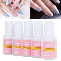 Byb Colle À Ongles Acrylique Pas Cher-Vente en gros - 5pcs / set BYB False Glue Nail Art Tips Glitter Décoration acrylique avec brosse False Nail Gel Glue Fake Nails Nail Label