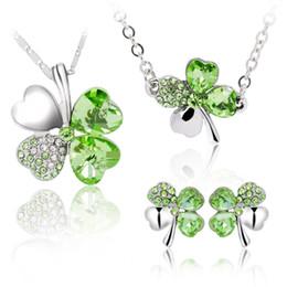 $enCountryForm.capitalKeyWord NZ - Earrings & Necklace set Colorful Woman Austria Crystal Necklace Jewelry Fashion Four Leaf Clover Crystal Rhinestone Charm JewelryD128