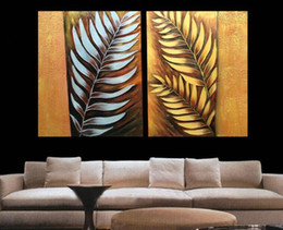 $enCountryForm.capitalKeyWord NZ - Handpainted 2pcs set Canvas Art Abstract Metal Wall Silver Tree Leaf Oil Painting Modern Home decoration Painting