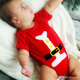 Santa Claus Girls Jumpsuit Canada - Baby Clothes Infant Clothing Newborn Romper Clothing An Infant Santa Claus Modelling Triangle Climb Clothes Jumpsuits Boys Girls