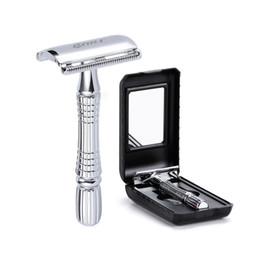 1 rasoir 1 lame 1 étui de rasoir manuel ensemble rasoir rasoir de sécurité pour hommes avec double lame de rasoir en alliage de zinc