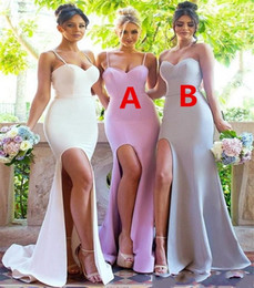 cheap strapless trumpet wedding dresses UK - Cheap Sexy Mermaid Side Split Bridesmaid Dresses Open Back Spaghetti Strapless Bride Wedding Reception Long Maid of Honor Gowns