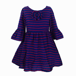 Chinese  New Arrival Cotton Lining Striped Girl Dress Puff Sleeve Bow Kids Dresses For Birthday Party 2-10 Years Girls Kids Gown Dresses manufacturers