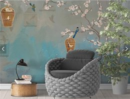 Bird Wallpapers For Living Room Canada - Vintage Plum Bird Painting Wall Mural Living Room Home Wall Art Decor papier peint 3d Wall Papers Retro Floral Photo Wallpaper