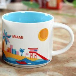 Chinese  14oz Capacity Ceramic Starbucks City Mug American Cities Best Coffee Mug Cup with Original Box Miami City manufacturers