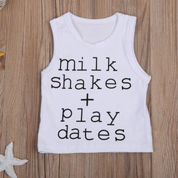 Barato Camisetas Sem Manga De Verão-Mikrdoo 18-24M Summer Hot Tank Top Newborn Infant Baby Boy Girl Tops sem molas Milk Shakes Play Datas T impressa T Shirts Cotton Outfits