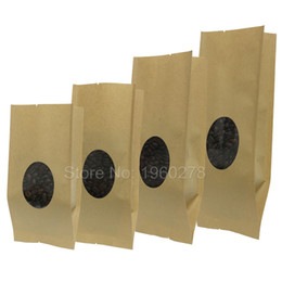 Gusset Packaging Bag Canada - Various Sizes 100pcs Side Gusset Tear Notches Brown Kraft Paper Gift Bag For Tea Powder Nut Food Cookie Open Top Package Bags