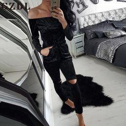 Plus Size Long Sleeve Jumpsuit Rompers Canada - Wholesale- GZDL 2017 Autumn Off Shoulder Women Jumpsuits Long Sleeve Bodysuit Velvet High Waist Plus Size Overalls Bodycon Rompers CL3495