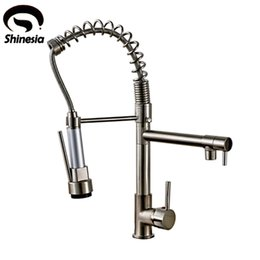brushed brass kitchen taps 2019 - Wholesale- Brushed Nickel Brass Pull Down Spray Kitchen Faucet Mixer Tap cheap brushed brass kitchen taps
