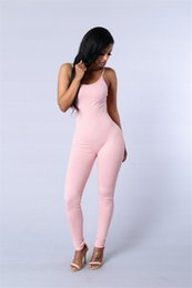 Mono Rosa Más El Tamaño Baratos-Sexy tirantes Deep V Backless Monos Largos Plus Size Rosa Negro Cremalleras Tobillo-longitud Bodycon Paquete Hip Elástico Tight Party