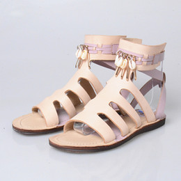 Ivory Gladiator Sandals NZ - New Arrival Gladiator Style Buckle Strap Women Sandals Metal Decoration Hollow Out Flat Shoes Mixed Color Leisure Shoe Woman