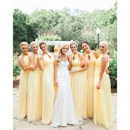 Barato Vestidos Longos Da Dama De Honra Amarelos Claros-2017 Light Yellow Bridesmaids Dresses Chiffon Empire Country Longa Maid De Honra Vestidos Para Casamentos Convidados Custom Made Cheap Price