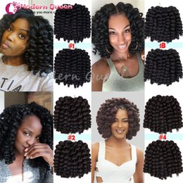 Discount new roots hair extensions 2017 New Ombre Wand Curl Janet Collection Synthetic Kanekalon Crochet Braids Noir 2X Bounce Twist Braid 6-10inch Hair Ex